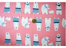 *FT2525-* Jersey Double Knit: Pink Polar Bears